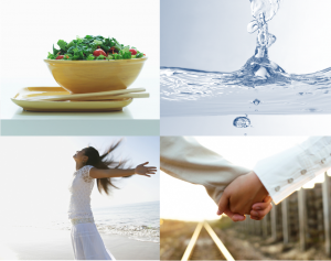 4 photos representing food, air, water and love
